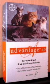Advantage - 40 bolha elleni oldat 1 hónapos védettséggel macskának 4x0,4 ml