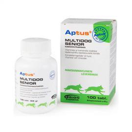 Aptus Multidog Senior tabletta, vitaminokat és mikroelemeket tartalmazó kiegészítő állateledel felnőtt és idős kutyák részére,100 db