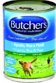 BUTCHER'S konzerv eledel Bárány / Rízs / Borsó ízben kutyáknak 390 gr-os
