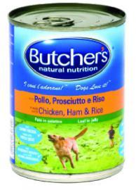 BUTCHER'S konzerv eledel Csirke / Sonka / Rízs ízben kutyáknak 390 gr-os