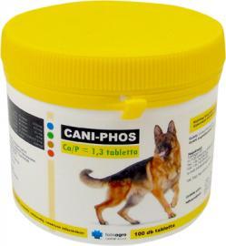 Cani-Phos Ca/P= 1,3 tabletta  kalcium- és foszfortartalmú étrend-kiegészítő kutyák számára, 1,3:1 kalcium-foszfor aránnyal 100 db-os és 300 db-os kiszerelésben
