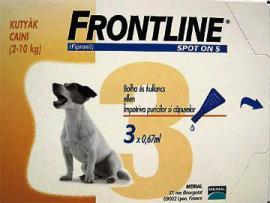 Frontline Spot-on S (2-10 kg) antiparazita oldat bolha és tetű ellen 1 hónapos védettséggel kutyák részére 1 pipetta