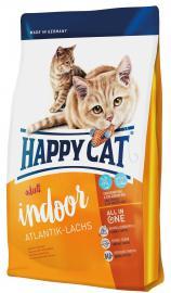 Happy Cat Adult Indoor Atlantik-Lachs -lazachúsból készült teljesértékű szárazeledel lakásban tartott, alacsonyabb energiaszükségletű felnőtt macskáknak