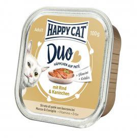 HAPPY CAT DUO Rind & Kaninchen pástétomos falatkák marhából és nyúlból, 100 g