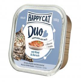 HAPPY CAT DUO Rind & Dorsch pástétomos falatkák marhából és tőkehalból, 100 g
