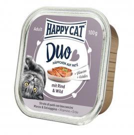 HAPPY CAT DUO Rind & Wild pástétomos falatkák marhából és vadból, 100 g