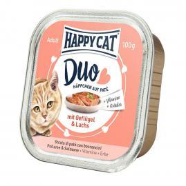 HAPPY CAT DUO Geflügel & Lachs pástétomos falatkák baromfiból és lazacból, 100 g