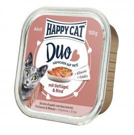 HAPPY CAT DUO Geflügel & Rind pástétomos falatkák baromfiból és marhából, 100 g
