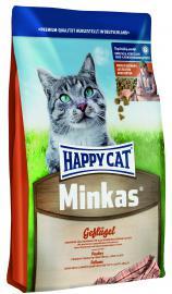 HAPPY CAT MINKAS HAIRBALL - baromfihúsos eledel felnőtt macskáknak, csökkenti a szőrlabda képződést