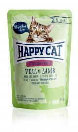 HAPPY CAT POUCH HÚSOS STERIL borjú-bárány tasakos konzerv eledel ivartalanított felnőtt macskáknak 24x85 g