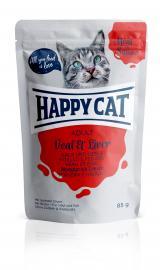 HAPPY CAT POUCH SZÓSZOS borjú-máj konzerv eledel felnőtt macskáknak 24x85 g