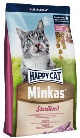 HAPPY CAT MINKAS  STERILIZED Baromfihúsos eledel ivartalanított felnőtt macskák számára, taurinnal.