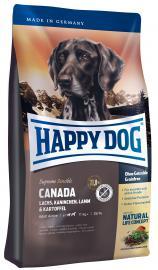 HAPPY DOG Supreme Canada szárazeledel gabonamentes, gluténmentes burgonyával, lazac-, nyúl-, bárányhússal és tojással táplálék-allergiás kölyök- és felnőtt kutyáknak