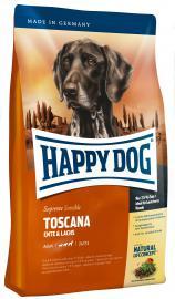 HAPPY DOG Supreme Sensible Toscana kacsa-, és lazachúsos, gluténmentes szárazeledel alacsony energia igényű, és idős kutyáknak