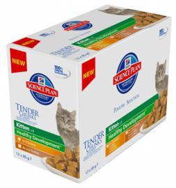Hill's SP Feline Kitten Poultry Multipack alutasakos konzerv csirkehússal, pulykahússal, 12x85 g, 6db Chicken, 6db Turkey