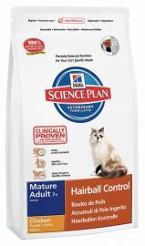 Hill's SP Feline Mature Adult 7+ Hairball Chicken száraz táp csirkehússal szőrlabda képződés ellen idős cicáknak