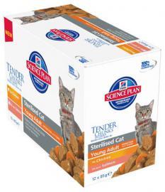 Hill's SP Feline Young Adult SterilizedCat Multipack alutasakos konzerv fiatalon ivartalanított felnőtt cicáknak csirkehússal, lazaccal 12 x 85g