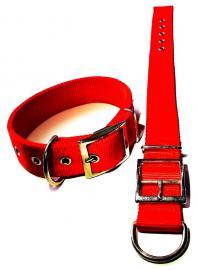 HUNTER  dupla varrott széles nylon bullterrier nyakörv kutyáknak PIROS színben, 30-40 cm-es nyakméretig, 3.590 Ft helyett 1.790 Ft