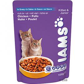 Iams Cat Kitten & Junior Chicken Pouch tasakos konzerv csirkehússal kölyök cicáknak 100 g