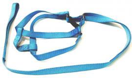 Nylon póráz egybevarrott hámmal kistestű kutyáknak, világoskék színben, 1.700 Ft helyett 850 Ft
