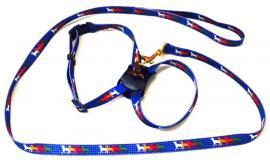 Nylon póráz és hám kistestű kutyáknak, kék alapon színes kutya mintával, 1.700 Ft helyett 850 Ft
